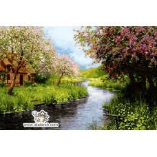 نخ و نقشه تابلو فرش شکوفه های بهاری