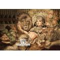 نخ و نقشه تابلو فرش ملکه و شیرها