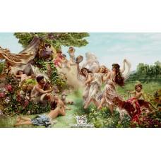 نخ و نقشه تابلو فرش باغ بهشت