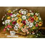 نخ و نقشه تابلو فرش سبد گلهای باغ