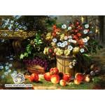 نخ و نقشه تابلو فرش گل و میوه