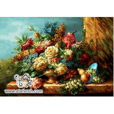 نخ و نقشه تابلو فرش طاقچه گل