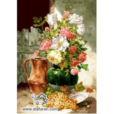 نخ و نقشه تابلو فرش گلدان و انگور