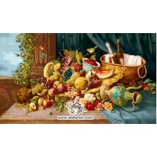نخ و نقشه تابلو فرش میوه های باغ