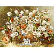 نخ و نقشه تابلو فرش سبد گل لاله های سفید
