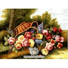نخ و نقشه تابلو فرش سد گل رز در باغ