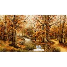 نخ و نقشه تابلو فرش جنگل پاییزی