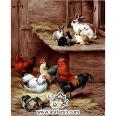 نخ و نقشه تابلو فرش خرگوش و خروس