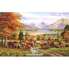 نخ و نقشه تابلو فرش اسب های مزرعه