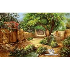 نخ و نقشه تابلو فرش کوچه و بهار
