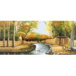 نخ و نقشه تابلو فرش کوچه باغ پاییزی