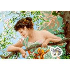 نخ و نقشه تابلو فرش دختر بهار